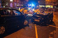 Nighttime car smash Stratford Road Sparkbrook Birmingham (Nov 2015)