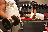 Stanford after dark. Colin Anderson, 05 lifts weights at Stanford Tressider gym.