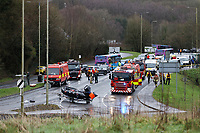 Pictured: Emergency service vehicles on Caerphilly Road in Nantgarw, Wales, UK. Sunday 16 February 2020<br /> Re: Residents from Oxford Street in the village of Nantgarw had to be evacuated in inflatable boats by the Fire Service after rover Taff burst its banks in south Wales, UK.