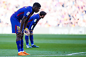 18th March 2018, Camp Nou, Barcelona, Spain; La Liga football, Barcelona versus Athletic Bilbao; Ousmane Dembélé of FC Barcelona and Leo Messi of FC Barcelona takes a break as they wait to start the second half