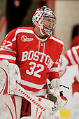 Adam Kraus (BU - 32) - The Boston University Terriers defeated the Harvard University Crimson 6-5 in overtime on Tuesday, November 24, 2009, at Bright Hockey Center in Cambridge, Massachusetts.