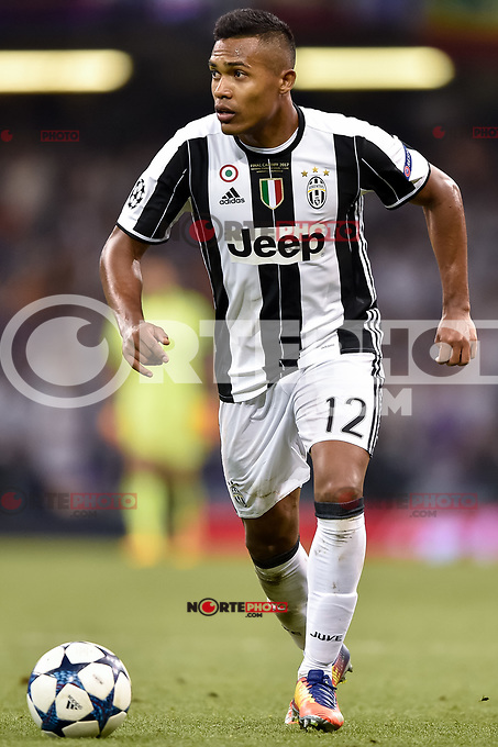 Alex Sandro of Juventus during the UEFA Champions League Final match between Real Madrid and Juventus at the National Stadium of Wales, Cardiff, Wales on 3 June 2017. Photo by Giuseppe Maffia.<br /> <br /> Giuseppe Maffia/UK Sports Pics Ltd/Alterphotos /nortephoto.com