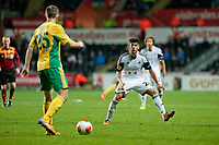 Thursday 24 October 2013  <br /> Pictured: ( L-R )  Aleksei Kozlov tries to get the ball past Alejandro Pozuelo of Swansea<br /> Re:UEFA Europa League, Swansea City FC vs Kuban Krasnodar,  at the Liberty Staduim Swansea