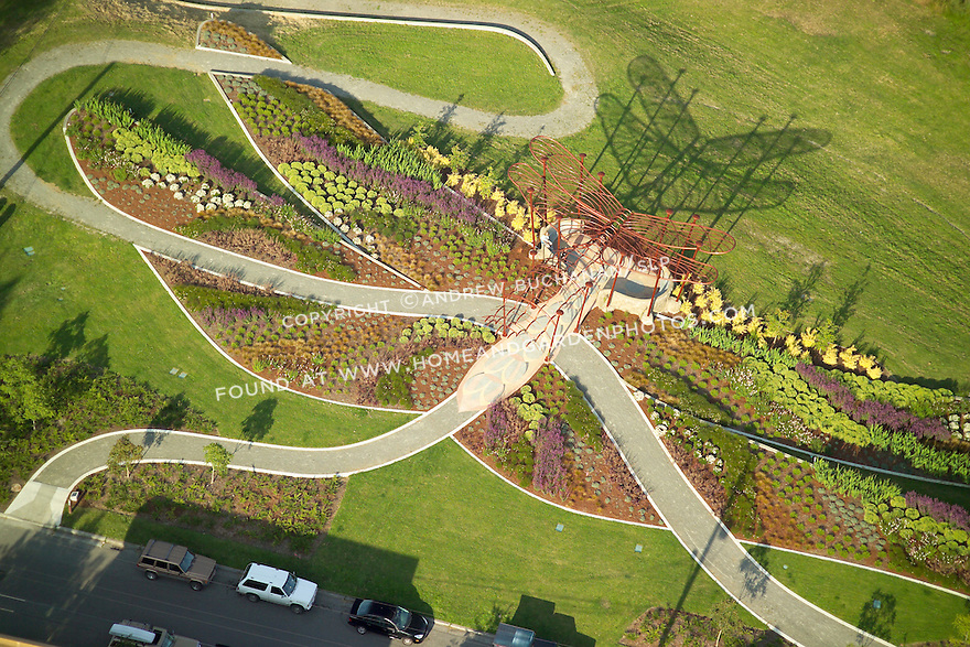 Seattle's Longfellow Park hosts the Dragonfly Pavilion, a name who's source becomes that much more evident when seen in this aerial view