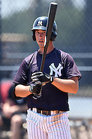 GCL Yankees 1 third baseman Drew Bridges (27) at bat during the first game of a doubleheader against the GCL Braves on July 1, 2014 at the Yankees Minor League Complex in Tampa, Florida.  GCL Yankees 1 defeated the GCL Braves 7-1.  (Mike Janes/Four Seam Images)