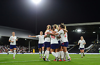Fran Kirby of England celebrates with her team mates after she scores to make it 1-0 during the Women's International friendly match between England Women and Australia at Ashton Gate, Bristol, England on 9 October 2018. Photo by Bradley Collyer / PRiME Media Images.
