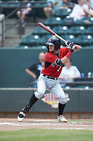 Brice Turang (2) of the Carolina Mudcats at bat against the Winston-Salem Dash at BB&T Ballpark on August 4, 2019 in Winston-Salem, North Carolina. The Dash defeated the Mudcats 7-5. (Brian Westerholt/Four Seam Images)
