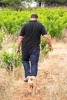 Pierre Quinonero Domaine de la Garance. Pezenas region. Languedoc. Owner winemaker. France. Europe. Vineyard. The Dog.