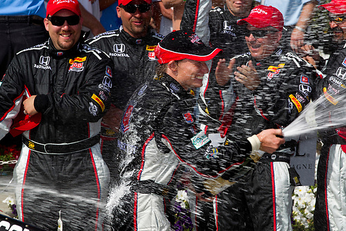 15-17 April, 2011, Long Beach, California, USA<br /> Winner Mike Conway with champagne<br /> ©2011, Michael L. Levitt<br /> LAT Photo USA