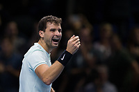 Grigor Dimitrov of Bulgaria (6) celebrates his victory over Dominic Thiem of Austria (4) in their Pete Sampras group match today - Dimitrov def Thiem 6-3, 5-7, 7-5<br /> <br /> Photographer Craig Mercer/CameraSport<br /> <br /> International Tennis - Nitto ATP World Tour Finals - O2 Arena - London - Day 2  - Monday 13th November 2017<br /> <br /> World Copyright &copy; 2017 CameraSport. All rights reserved. 43 Linden Ave. Countesthorpe. Leicester. England. LE8 5PG - Tel: +44 (0) 116 277 4147 - admin@camerasport.com - www.camerasport.com