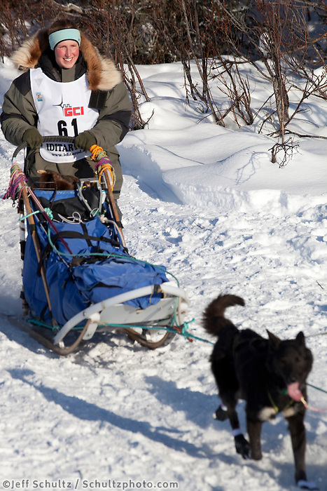 2010 Iditarod Re-start in Willow Alaska musher # 61 COLLEEN ROBERTIA