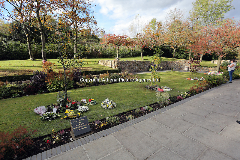 Pictured: Trees planted by HRH Queen Elizabeth and Prince Charles at the Memorial Garden Friday 21 October 2016<br />