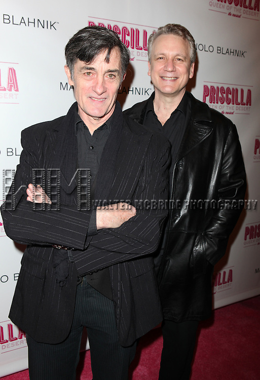 Roger Rees and partner Rick Elice.attending the Broadway opening Night Performance of 'Priscilla Queen of the Desert - The Musical' at the Palace Theatre in New York City.