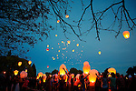 Pix: Shaun Flannery/shaunflanneryphotography.com...COPYRIGHT PICTURE>>SHAUN FLANNERY>01302-570814>>07778315553>>..2nd September 2012..Remembering Amy..Friends and family of Amy Kirkby release Chinese lanterns in Sprotbrough, Doncaster to celebrate her life on the first anniversary of her death.