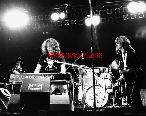 Bad Company 1976 Boz Burrell, Paul Rodgers, Mick Ralphs.© Chris Walter.