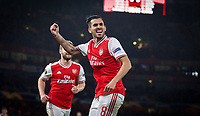 Dani Ceballos (on loan from Real Madrid) of Arsenal celebrates scoring his teams fourth goal during the UEFA Europa League match between Arsenal and Standard Liege at the Emirates Stadium, London, England on 3 October 2019. Photo by Andrew Aleks.