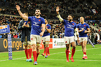 Charles OLLIVON of France, Virimi VAKATAWA of France and Gael FICKOU of France celebrate the victory during the Six Nations match Tournament between France and England at Stade de France on February 2, 2020 in Paris, France. (Photo by Sandra Ruhaut/Icon Sport) - Stade de France - Paris (France)