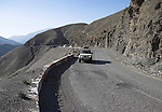 Driving on the road through Tiz-n-Tichka Pass, Atlas Mountains, Morocco