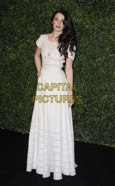 guest.The 58th London Evening Standard Theatre Awards in association with Burberry, Savoy Hotel, The Strand, London, England..November 25th, 2012.full length white dress hand on hip lace .CAP/CAN.©Can Nguyen/Capital Pictures.
