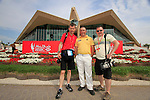 Damien McGrane with Golffile photographers Fran Caffrey and Eoin Clarke in front of the spectacular clubhouse during the Final Day Sunday of the Abu Dhabi HSBC Golf Championship, 23rd January 2011..(Picture Eoin Clarke/www.golffile.ie)