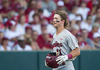 NWA Democrat-Gazette/BEN GOFF @NWABENGOFF<br /> LT Tolbert of South Carolina returns to the dugout after hitting a home run in the 4th inning against Arkansas Saturday, June 9, 2018, during game one of the NCAA Super Regional at Baum Stadium in Fayetteville.