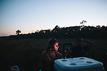 Bonnie Berry, University of Georgia student, waits for for the tide to recede before the start of a night of searching, tagging, and gathering data from nesting sea turtles on Ossabaw Island, Georgia, June 17 and 18, 2012.