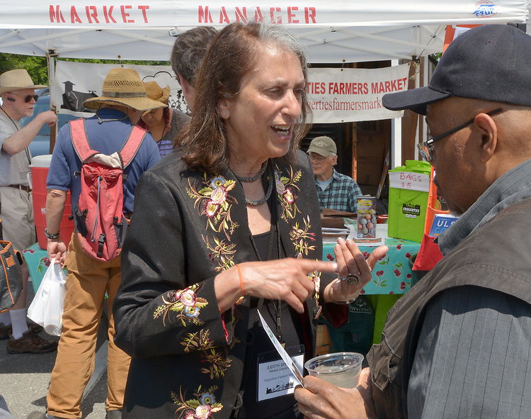 Market Coordinator, Judith Spektor, seen at the Saugerties Farmer's Market on Main Street in the Village of Saugerties, NY, on Saturday, June 10, 2017. Photo by Jim Peppler. Copyright/Jim Peppler-2017.