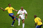 01 July 2006: Thierry Henry (FRA) (12) juggles the ball despite the studs-up challenge from Gilberto Silva (BRA). France defeated Brazil 1-0 at Commerzbank Arena in Frankfurt, Germany in match 60, a Quarterfinal game of the 2006 FIFA World Cup.