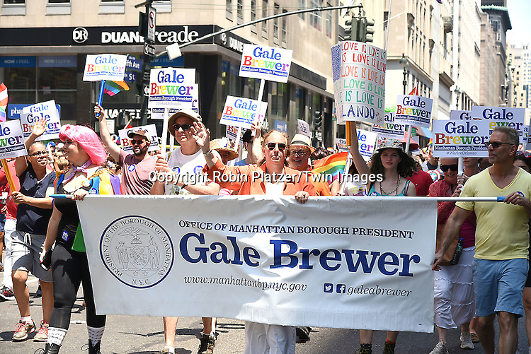 Gale Brewer attends the New York City Gay Pride March 2016 on June 26, 2016 on Fifth Avenue in New York City, New York, USA.<br /> <br /> photo by Robin Platzer/Twin Images<br />  <br /> phone number 212-935-0770