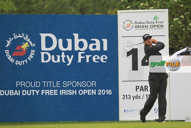 Raffa-Cabrera Bello (ESP) on the 14th tee during Round 3 of the Dubai Duty Free Irish Open presented  by the Rory Foundation at The K Club, Straffan, Co. Kildare.<br /> Picture: Golffile | Thos Caffrey<br /> <br /> All photo usage must carry mandatory copyright credit <br /> (&copy; Golffile | Thos Caffrey)