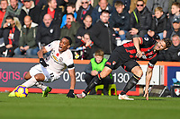 Anthony Martial of Manchester United is caught by Simon Francis of AFC Bournemouthduring AFC Bournemouth vs Manchester United, Premier League Football at the Vitality Stadium on 3rd November 2018