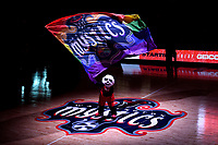 Washington, DC - September 8, 2019: Washington Mystics mascot Pax wave the Mystics Pride flag before game between the Chicago Sky and Washington Mystics at the Entertainment and Sports Arena in Washington, DC. The Mystics locked up the #1 seed in the Playoffs by defeating the Sky 100-86. (Photo by Phil Peters/Media Images International)