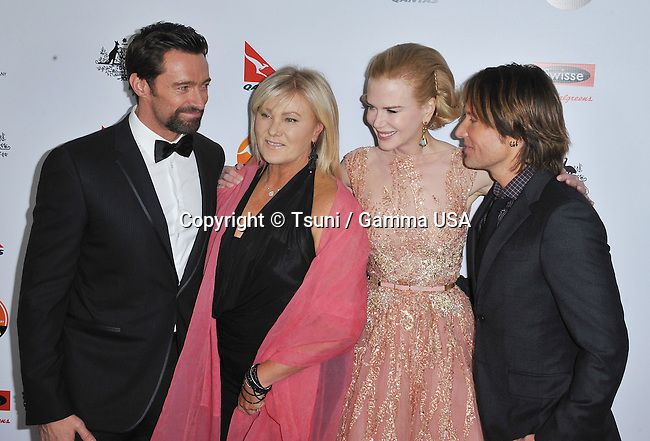 Hugh Jackman, wife, Nicole Kidman and Keith urban  at the G'Day USA Black Tie Gala - 2013 at the JW Marriot Hotel In Los Angeles.