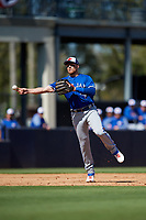 Toronto Blue Jays third baseman Brandon Drury (3) throws to first base during a Grapefruit League Spring Training game against the New York Yankees on February 25, 2019 at George M. Steinbrenner Field in Tampa, Florida.  Yankees defeated the Blue Jays 3-0.  (Mike Janes/Four Seam Images)
