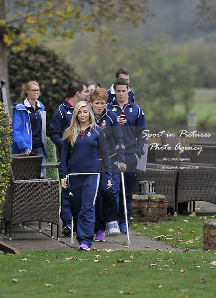 Amber Hill (Womens Skeet) leads out the team to meet the press. TeamGB announcement of shooting athletes for Rio 2016 Olympics. Bisham Abbey. Marlow. Buckinghamshire. England. UK. 10/11/2015. MANDATORY Credit Garry Bowden/SIPPA - NO UNAUTHORISED USE - 07837 394578