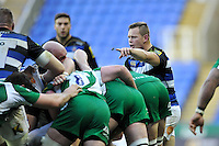 Chris Cook of Bath Rugby rallies his forwards at a maul. Aviva Premiership match, between London Irish and Bath Rugby on November 7, 2015 at the Madejski Stadium in Reading, England. Photo by: Patrick Khachfe / Onside Images