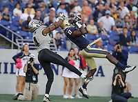 Annapolis, MD - October 21, 2017: Navy Midshipmen cornerback Tyris Wooten (17) drops an interception during the game between UCF and Navy at  Navy-Marine Corps Memorial Stadium in Annapolis, MD.   (Photo by Elliott Brown/Media Images International)