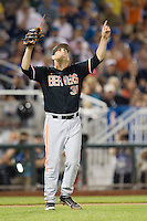 Oregon State pitcher Matt Boyd (31) celebrates the victory over the Indiana Hoosiers immediately following Game 9 of the 2013 Men's College World Series  on June 19, 2013 at TD Ameritrade Park in Omaha, Nebraska. The Beavers defeated the Hoosiers 1-0, eliminating Indiana from the tournament. (Andrew Woolley/Four Seam Images)