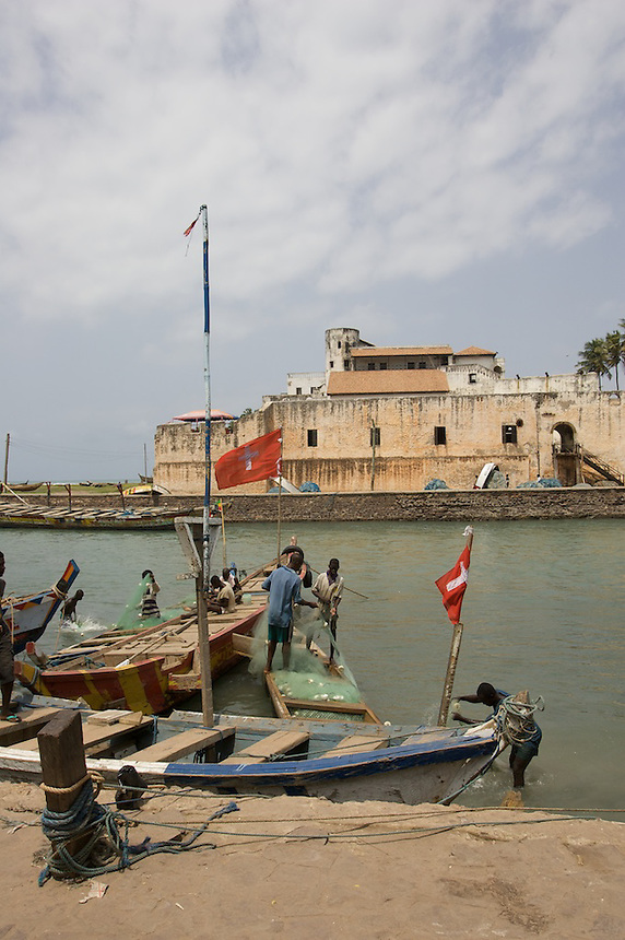 St. George's fort at Elmina, Ghana, built 1482, where slaves were held prior to their shipment across the Atlantic Ocean. Now a World Heritage site..Photograph by Peter E. Randall