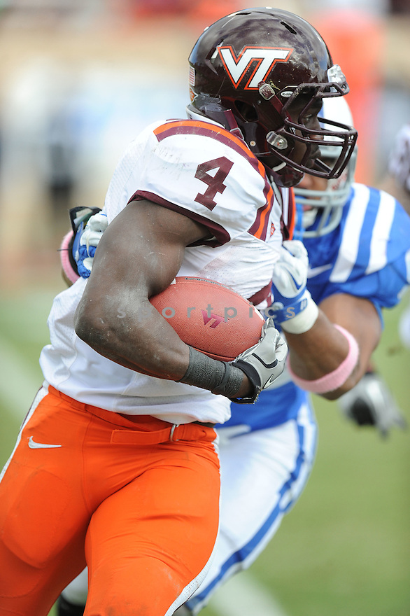 DAVID WILSON, of the Virginia Tech Hokies in action during Virginia Tech's game against the Duke Blue Devils on October 29, 2011 at Wallace Wade Stadium in Durham, NC. Virginia Tech beat Duke 14-10.