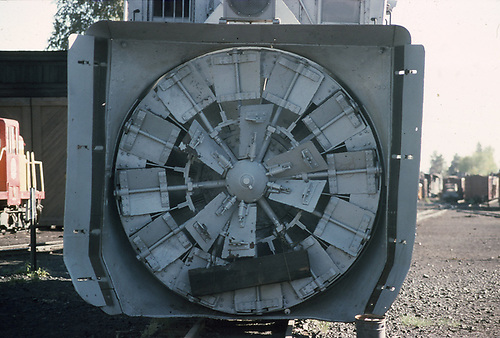 Close-up view of the blades of D&amp;RGW rotary snowplow #OM at Chama.<br /> D&amp;RGW  Chama, NM