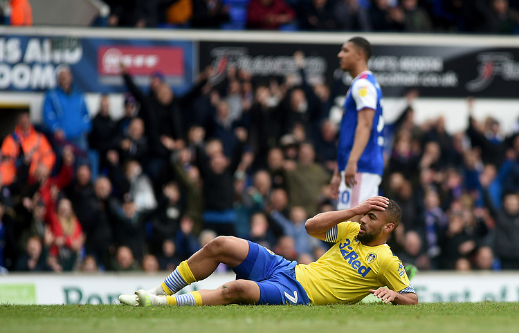 Leeds United's Kemar Roofe embarrassed after slipping while taking a penalty <br /> Photographer Hannah Fountain/CameraSport<br /> <br /> The EFL Sky Bet Championship - Ipswich Town v Leeds United - Sunday 5th May 2019 - Portman Road - Ipswich<br /> <br /> World Copyright © 2019 CameraSport. All rights reserved. 43 Linden Ave. Countesthorpe. Leicester. England. LE8 5PG - Tel: +44 (0) 116 277 4147 - admin@camerasport.com - www.camerasport.com