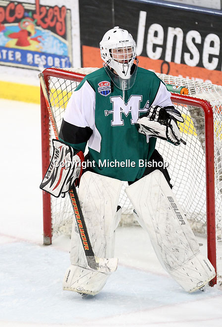 Medina goalie Ben Giltner. Cherry Creek (Colorado) beat Medina (Ohio) 5-1 on the third day of pool play during the 2014 High School Hockey National Championship in Omaha on March 28. (Photo by Michelle Bishop)