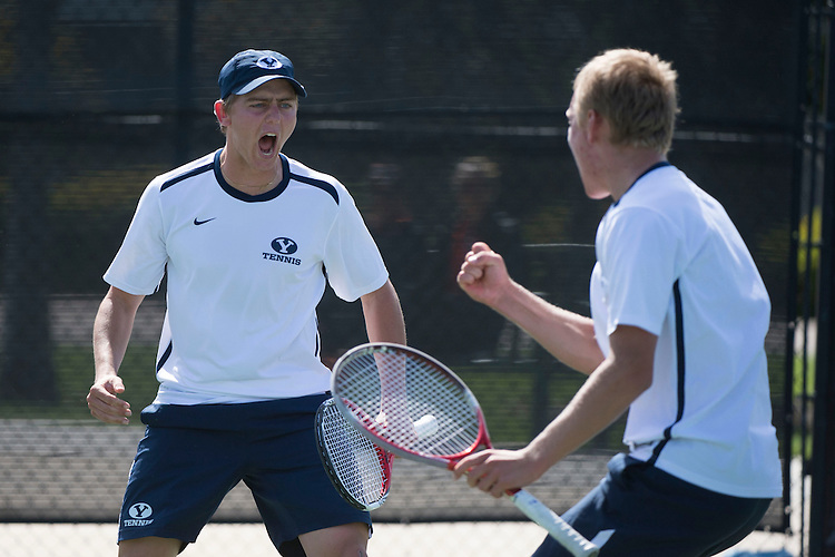 April 23, 2014; San Diego, CA, USA; BYU Cougars player Robin Pfister (left) and Andrey Goryachkov (right) during the WCC Tennis Championships at Barnes Tennis Center.