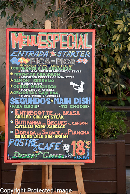 Special Tapas Menu in English and Spanish in the Streets of Barcelona, Catalonia, Spain
