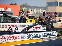 Jul 27, 2018; Sonoma, CA, USA; NHRA top fuel driver Steve Torrence during qualifying for the Sonoma Nationals at Sonoma Raceway. Mandatory Credit: Mark J. Rebilas-USA TODAY Sports