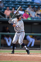 ***Temporary Unedited Reference File***Mississippi Braves left fielder Dustin Peterson (28) during a game against the Jacksonville Suns on May 1, 2016 at The Baseball Grounds in Jacksonville, Florida.  Jacksonville defeated Mississippi 3-1.  (Mike Janes/Four Seam Images)
