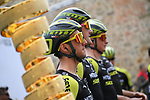 Simon Yates (GBR) and Mitchelton-Scott at sign on before Stage 3 of the 2019 Giro d'Italia, running 220km from Vinci to Orbetello, Italy. 13th May 2019<br /> Picture: Gian Mattia D'Alberto/LaPresse | Cyclefile<br /> <br /> All photos usage must carry mandatory copyright credit (© Cyclefile | Gian Mattia D'Alberto/LaPresse)