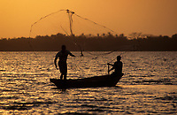 Afrique/Afrique de l'Ouest/Sénégal/Parc National de Basse-Casamance/Ourong : Pêche à l'épervier dans les bolons