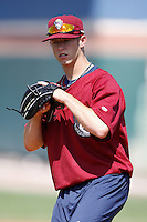 June 24, 2009:  Pitcher Austin Adams of the Mahoning Valley Scrappers during a game at Eastwood Field in Niles, OH.  The Scrappers are the NY-Penn League Short-Season Single-A affiliate of the Cleveland Indians.  Photo by:  Mike Janes/Four Seam Images